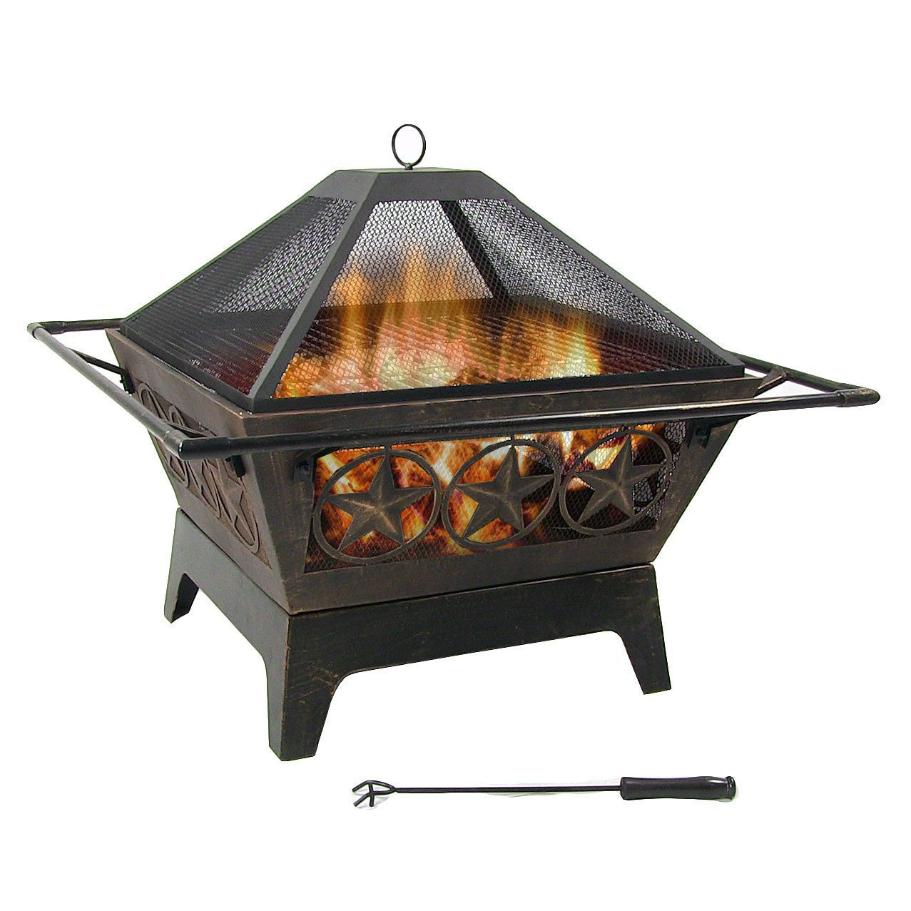 Sunnydaze Northern Galaxy Fire Pit, Large Square Outdoor Wood Burning Patio Firepit with Cooking Grate and Spark Screen, 32 Inch Sunnydaze Decor