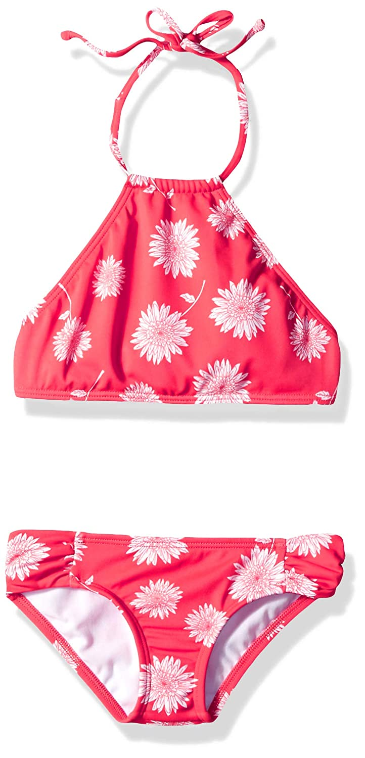 Sunset Red BILLABONG Womens Daisy Day Hi Neck Set Two Piece Swim Set Two Piece Swimsuit