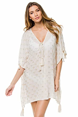 c338ec6937e1c Z & L Europe Women's Wovens Tunic Swim Cover up White/Gold M at Amazon  Women's Clothing store: