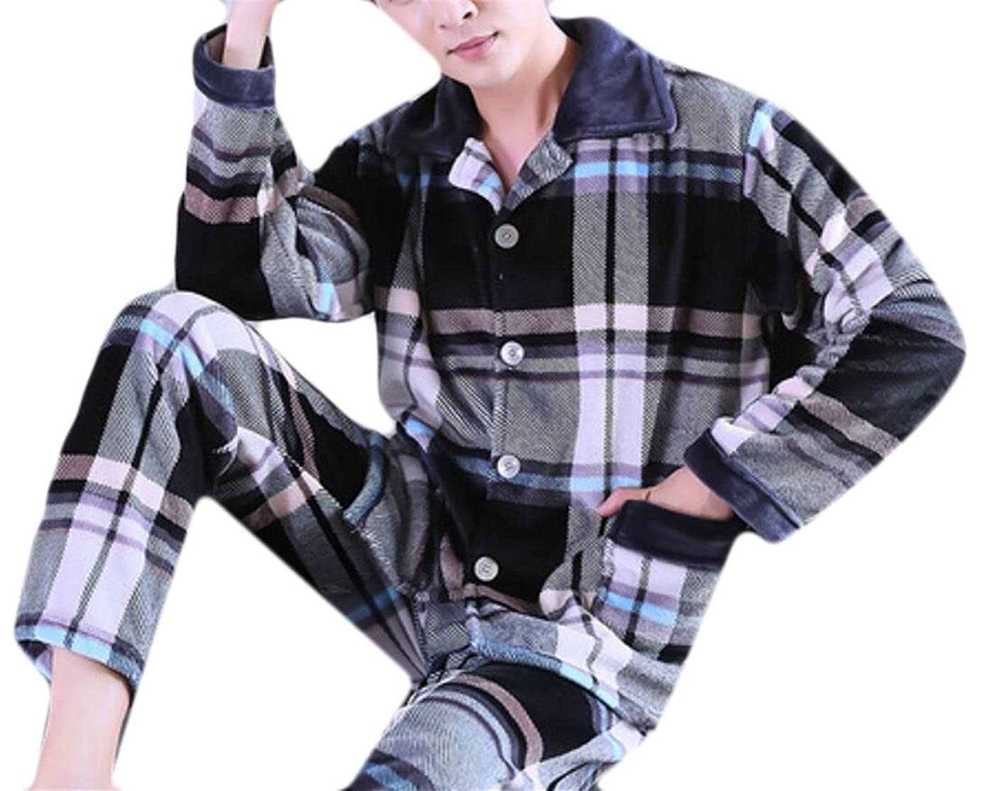 SYTX Men's Button Front Plaid Flannel Fleece Pant Soft Pajama Set Sleepwear