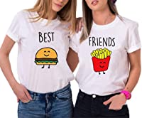 Mejores Amigas Camiseta Dibujos Animados T-Shirt Best Friend 2 Piezas 100% Algodón Manga Corta Par Impresión Camisa para 2 Verano Hermana para Mujer