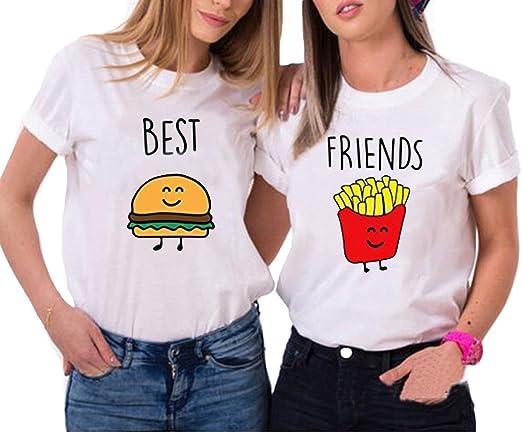 Mejores Amigas Camiseta Dibujos Animados T-Shirt Best Friend 2 Piezas 100% Algodón Manga Corta Par Impresión Camisa para 2 Verano Hermana para Mujer: Amazon.es: Ropa y accesorios