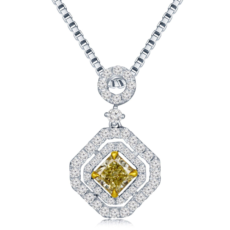 Mabelle 18 Kホワイトと黄色ゴールドプリンセスカットダイヤモンド円とOctagonペンダントW / 925スターリングシルバーチェーンネックレス( 0.94 Cttw ) B076GXTDWG
