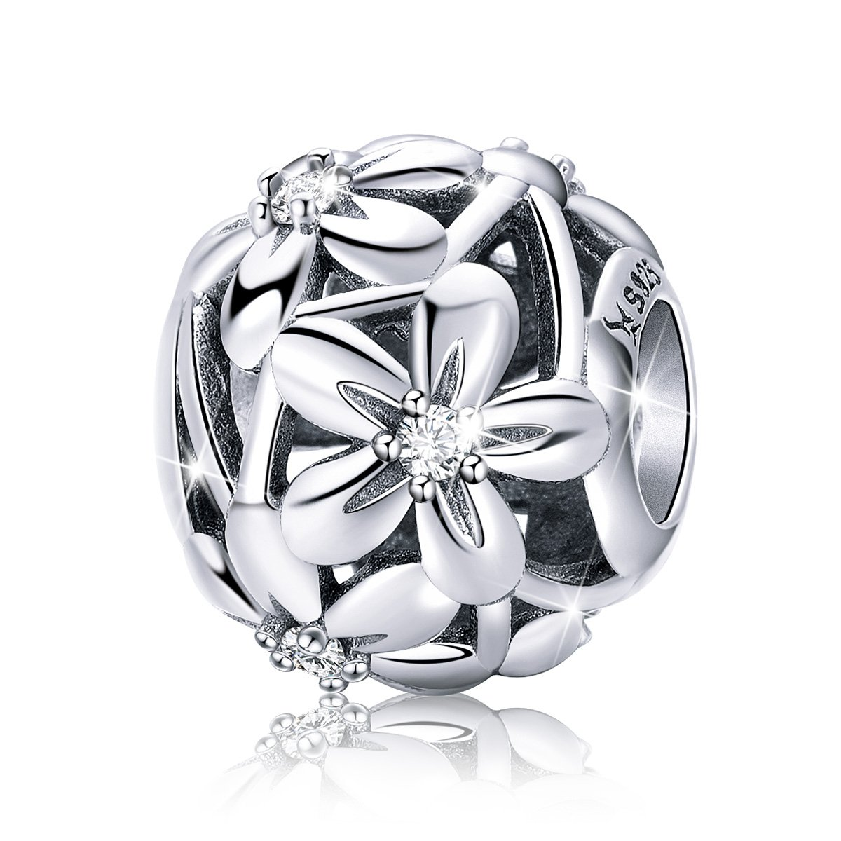 BAMOER Daisy Flowers 925 Sterling Silver Bead Charm for Bracelet and Necklace Birthday Gift