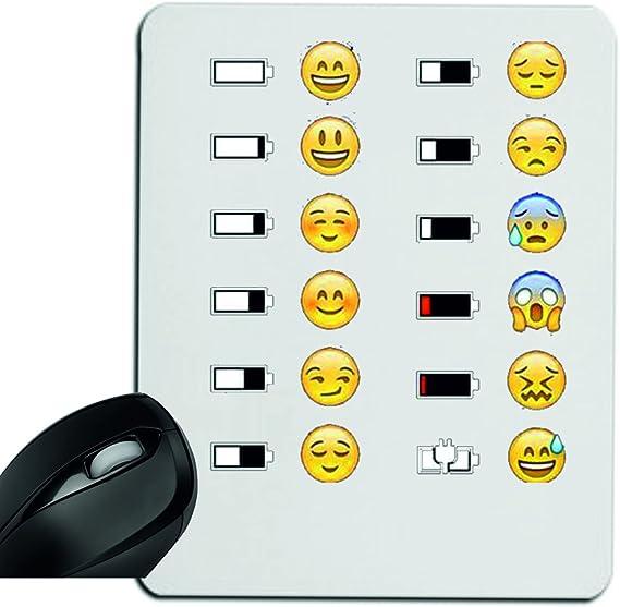 Druckerlebnis24 Alfombrilla de ratón Emoji con batería feliz/unglücklichem (Stand), reposamuñecas, Gamepad, reposamuñecas, Windows, portátil, PC