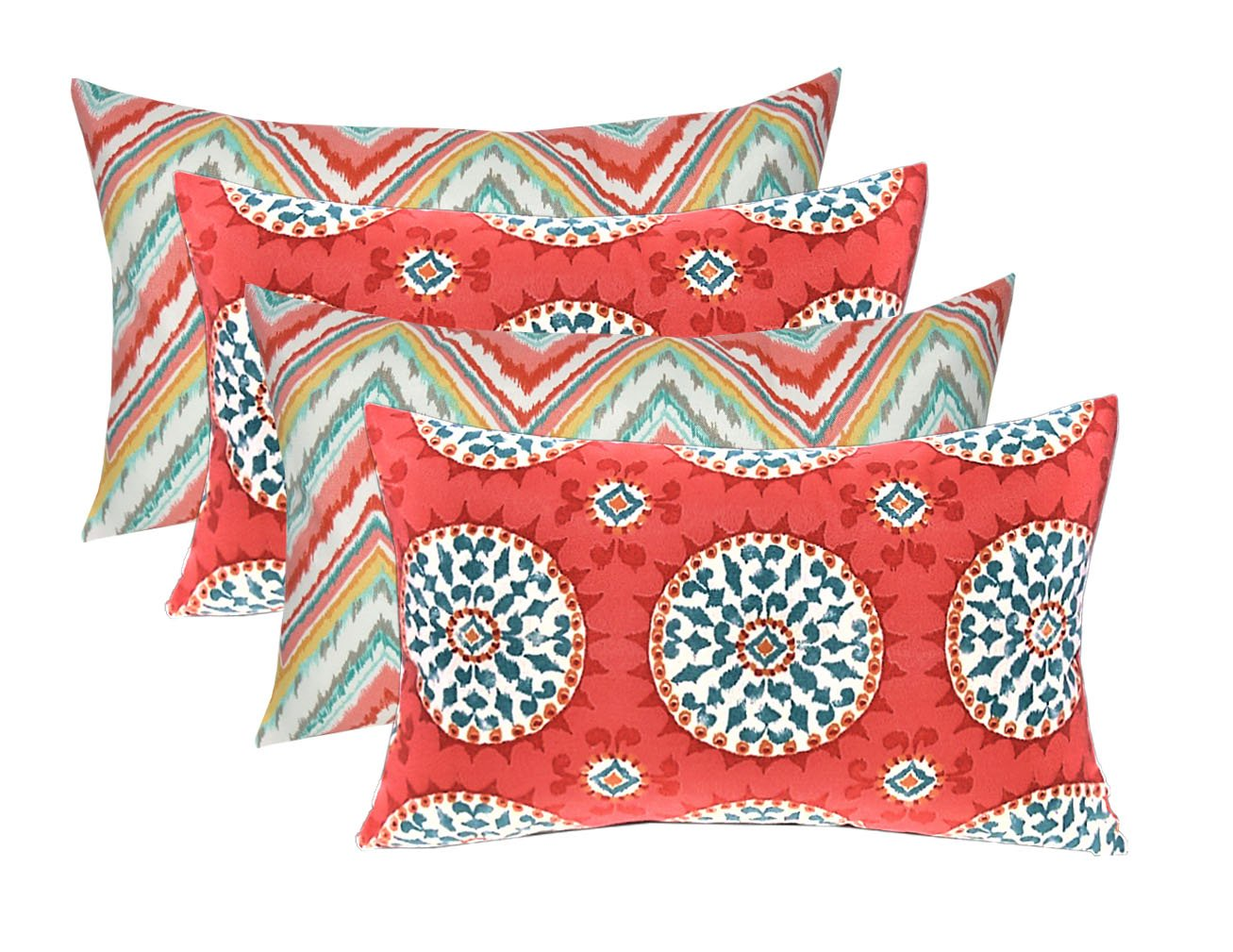 Resort Spa Home Decor Set of 4 Indoor Outdoor Decorative Lumbar Rectangle Pillows – 2 Bright Colorful Watermelon Chevron 2 Coral Turquoise Sundial