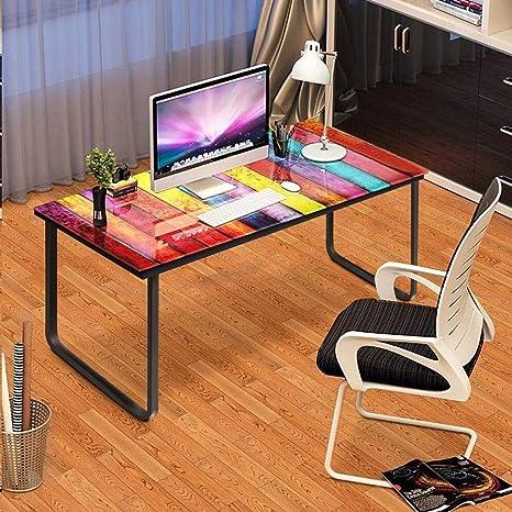 Huisen Muebles Rainbow Mesa de Cristal para Ordenador portátil Mesa hogar Estudio Escritorio de Escritura para