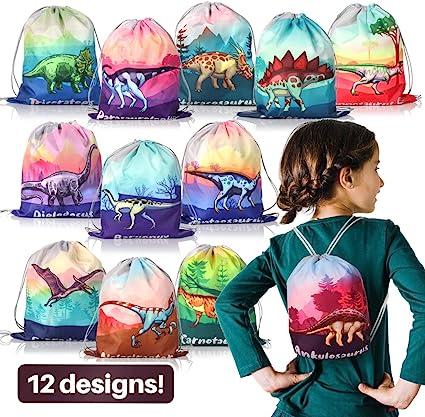 bolsas de PE para ni/ños Paquete de 12 bolsas no tejidas con cord/ón Bolsas de fiesta de dinosaurio Mochilas de cord/ón de dinosaurio Bolsas de fiesta bolsas de gimnasio