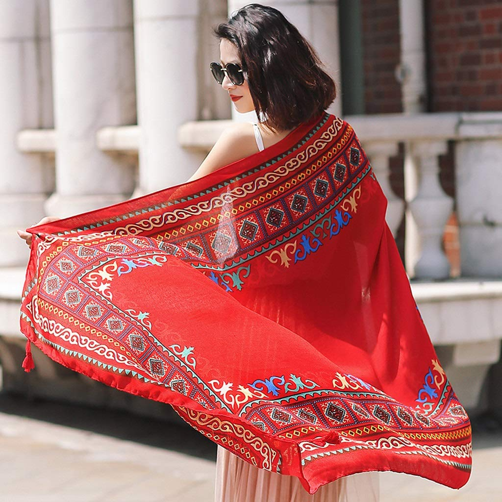 Ethnic Style Cotton and Linen Scarves Ladies Oversized Travel Shawl Long Retro Tassel Pendant Beach Towel Sunscreen Warm Multi-Design (Edition : F)