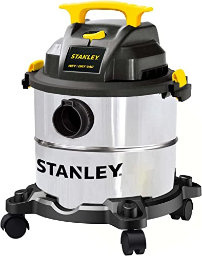 Stanley 5 Gallon Wet Dry Vacuum, 4 Peak HP Stainless Steel 3 in 1 Shop Vac Blower with Powerful Suction, Multifunctional Shop Vacuum W 4 Horsepower Motor for Job Site,Garage,Basement,Van,Workshop