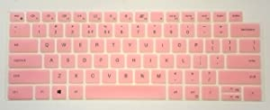 US Layout Keyboard Protector Cover Skin Compatible for Dell Inspiron 13-5310 14-5410, Vostro 13-5310 14-5410 14-5415 with BingoBuy Card Case (Pink)