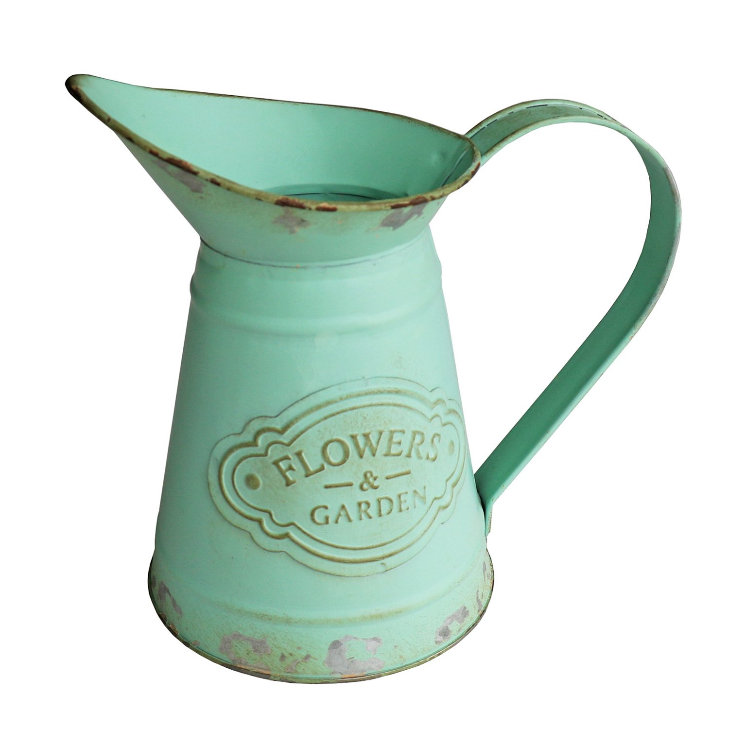 HyFanStr Shabby Chic Green Painted Mini Metal Vase Flower Pitcher Jug Duck Mouth Decorative