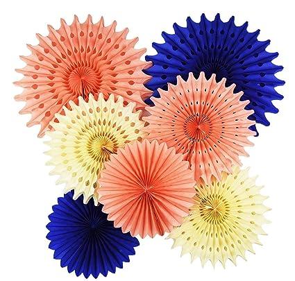 044849fbea97 Bridal Shower Decorations 7 pcs Navy Peach Cream Tissue Paper Fan Flower  Navy Paper Fans
