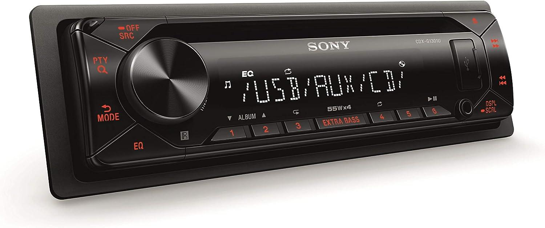 Sony CDX-G1301U - Reproductor CD para Coche (Extra Bass, USB, amplificación de 55W x 4 Salidas, Ecualizador de 10 Bandas, Luces ámbar), Negro