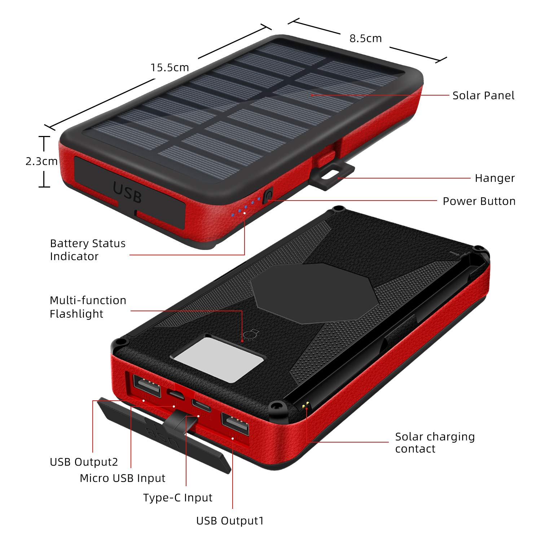 Amazon.com: Cargador solar portátil 26800 mAh, banco de ...