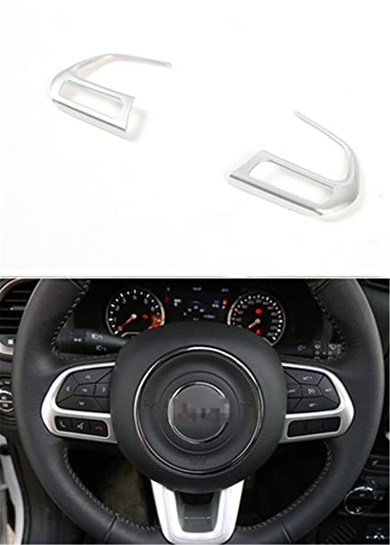 2 PCS Black Car Steering Wheel Buttons Sequins Cover Trim For Jeep Compass 2017
