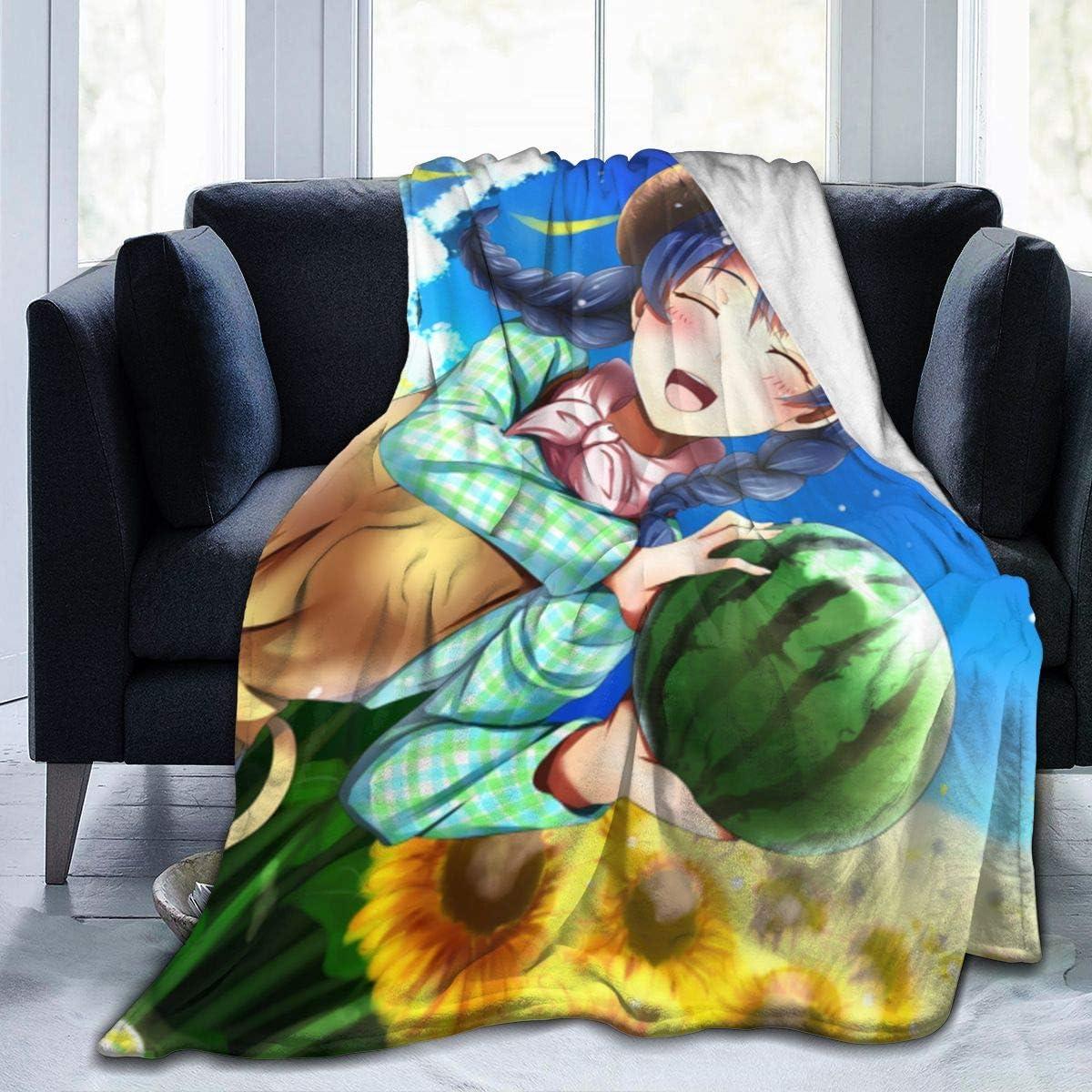 JAIDEN BEATA Nice Fleece Bed Blankets,Food Wars Shokugeki No Soma Megumi Tadokoro Throw Blankets,All Seasons Super Soft 80s 90s Blanket for Girls Better Relaxing Bedroom
