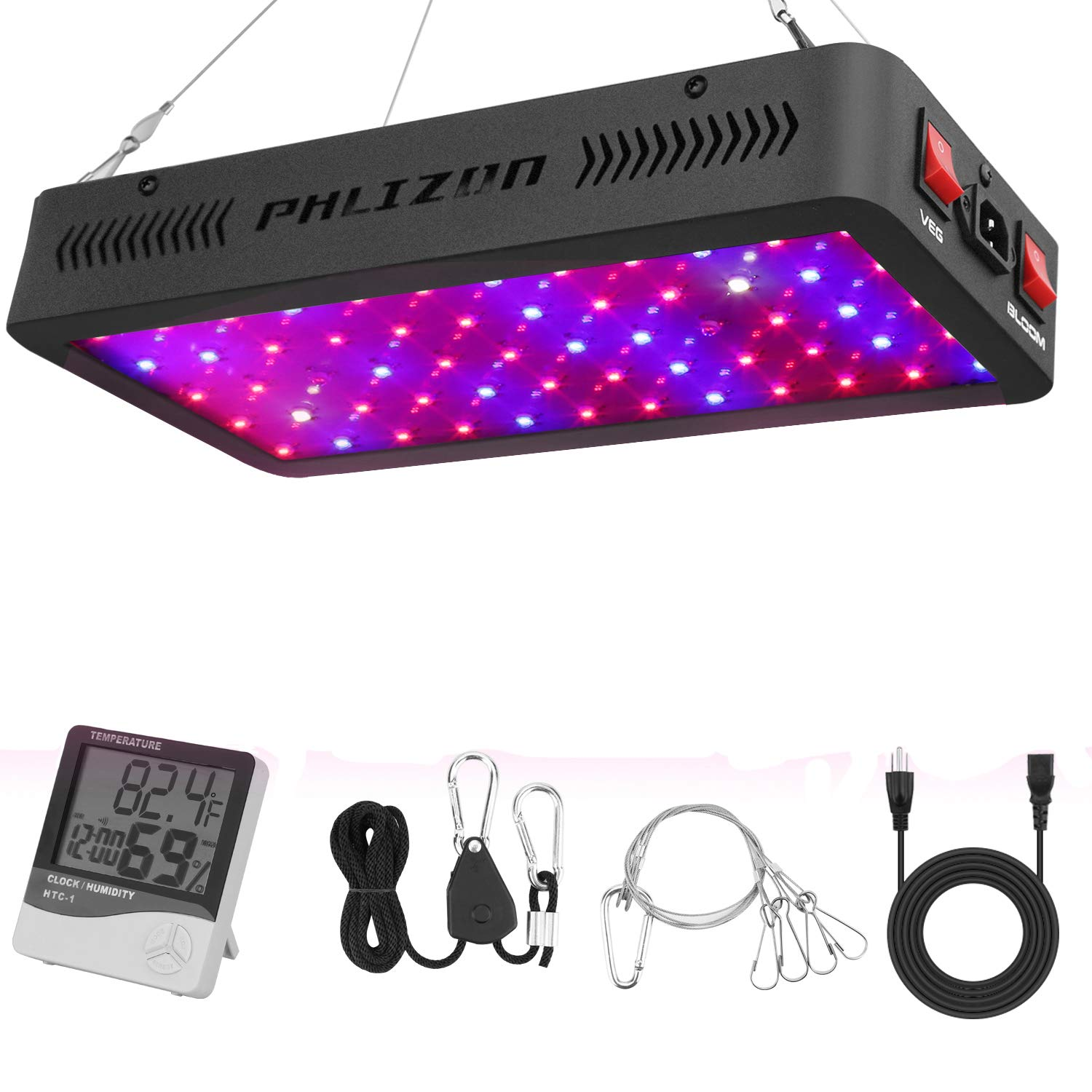 Phlizon Newest 600W Full Spectrum LED Plant Grow Light,with Thermometer Humidity Monitor