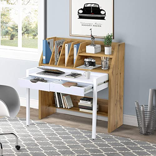 mimoglad Home Office Desk, Rolling Computer Desk with Caters, Home Write Desk and Book Shelf in One, Two Storage Drawers, Foot Rest, Great for Your Workplace, White