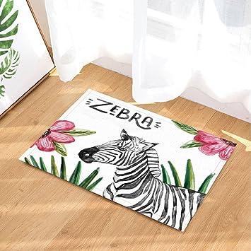 Cdhbh Wild Animal Zebra Decor Badteppich Von Flower Grun Pflanzen