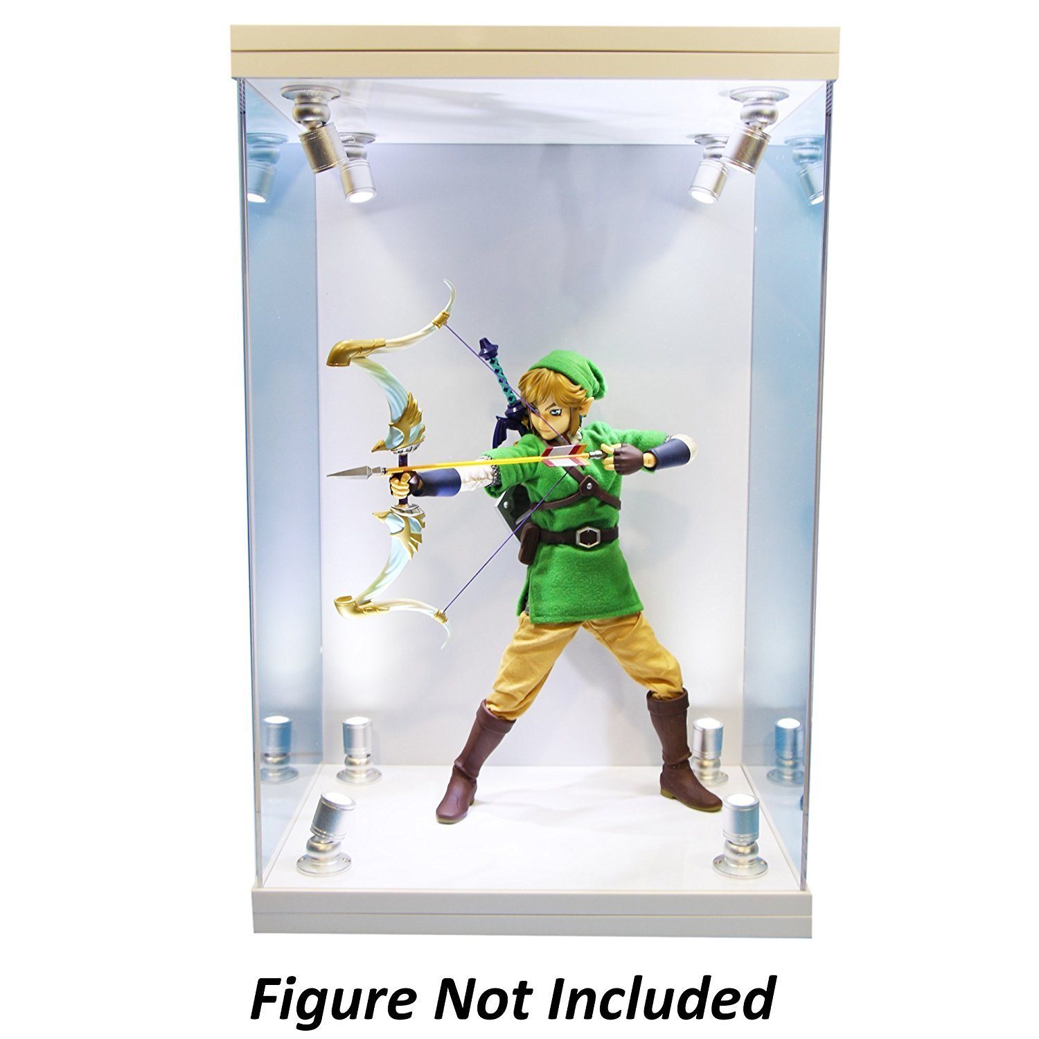 ELITE E-01 GLOSS WHITE 8 LED LIGHTED FIGURE STATUE DOLL DISPLAY CASE FOR 1/6 SCALE FIGURES AND MOST FIGURES UP TO 16'' INCHES TALL