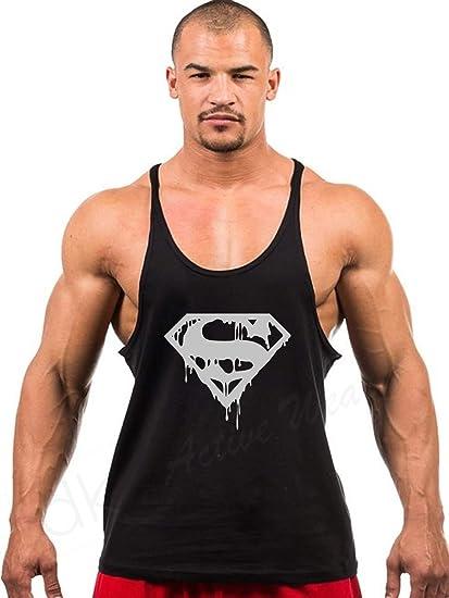 54405db23f7 dk Bodybuilding Gym Stringer, Workout Stringer Vest, Tank Top, Racer Back  (Superman) Design