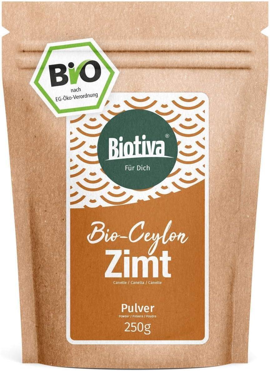 Canela de Ceilán en polvo (250 g) I 100% de calidad ecológica I Canela en polvo - vegana - sin azúcar añadido - embotellada y controlada en Alemania (DE-ÖKO-005)