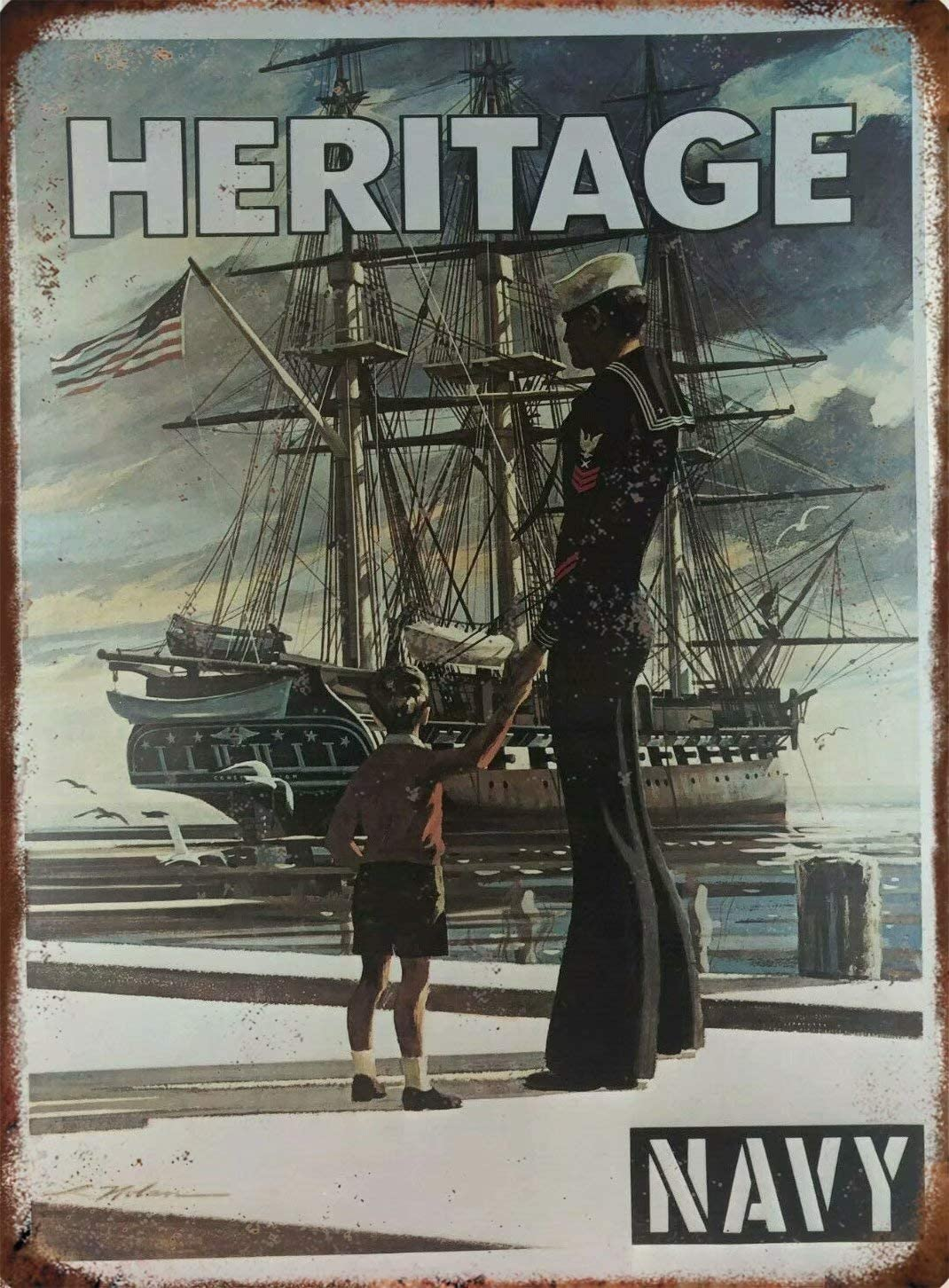 """Vintage 1973 Navy Recruiting Paper Poster 'Heritage' 8""""X12"""" Military Sign Military Fan Sign Memorial Sign Home Man Cave Decor Metal Tin Sign Wall Sign JSS-25"""
