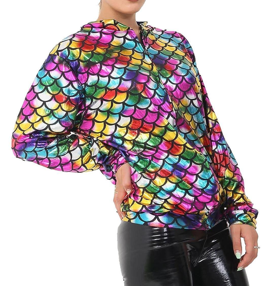 Amazon.com: Rimi Hanger Womens Mermaid Rainbow Fish Bomber Jacket Ladies Metallic Summer Party Coat S/XL: Clothing