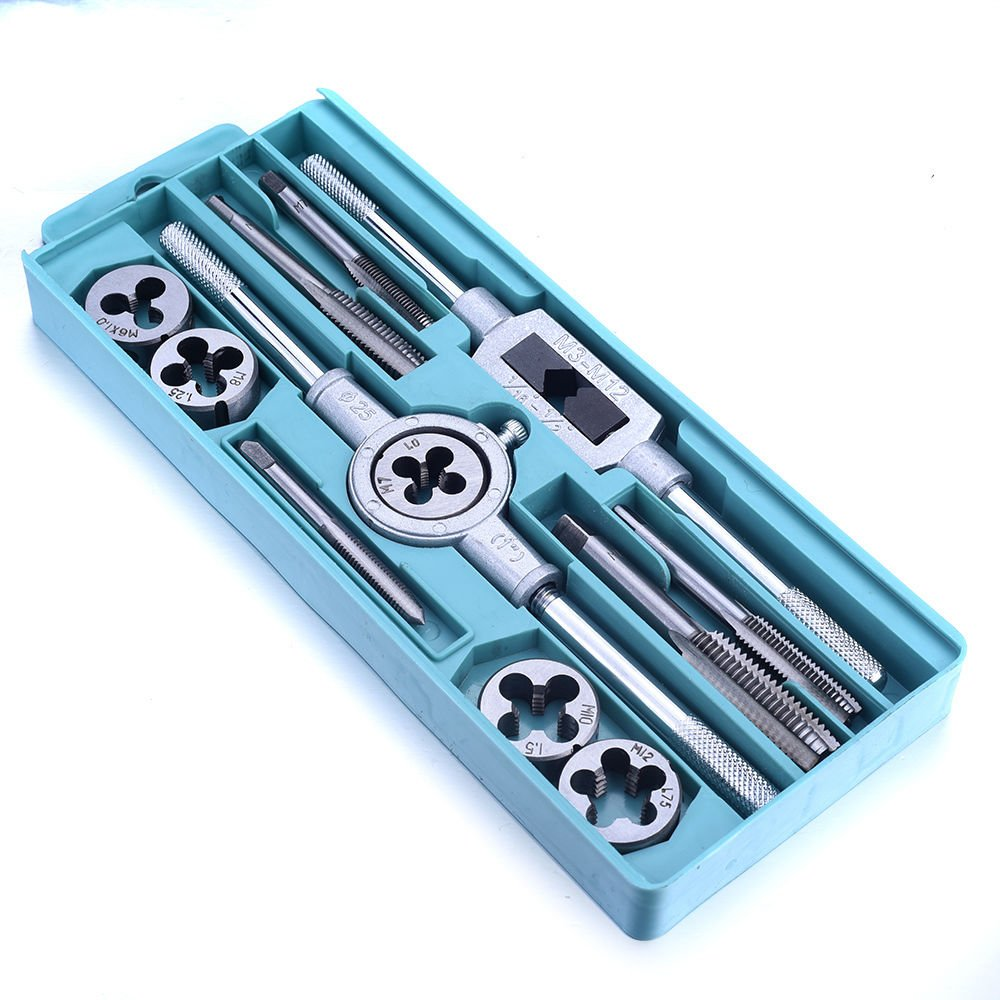 CSLU 12PCS Tap and Die Set Combination Alloy Steel Hand Tools Metric Size for Wood Plastic Soft Metal Steel by CSLU