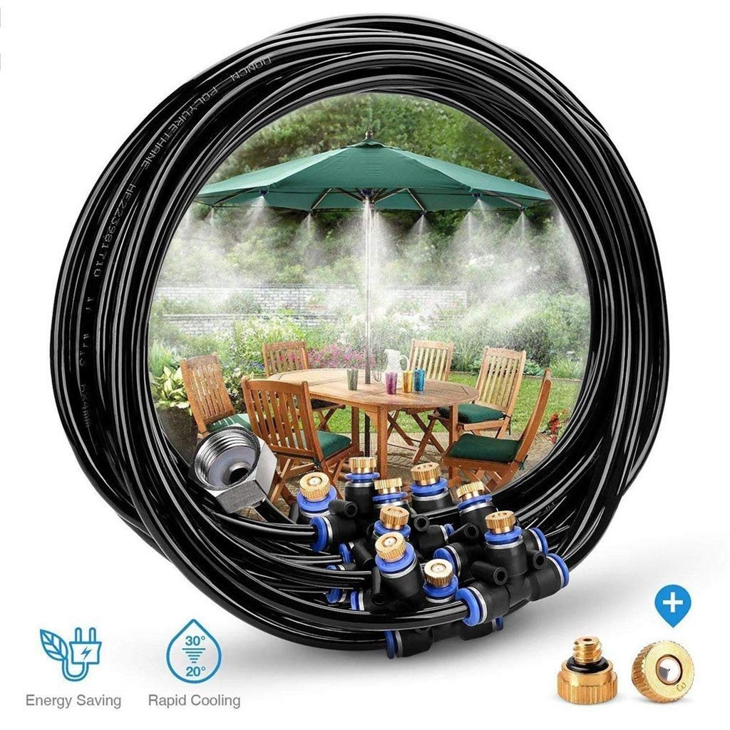 Hiyougen Misting Cooling System, 59FT (18M) Misting Line + 25 Brass Mist Nozzles + a Brass Adapter(3/4) for Patio Garden Greenhouse Trampoline for Waterpark by Hiyougen