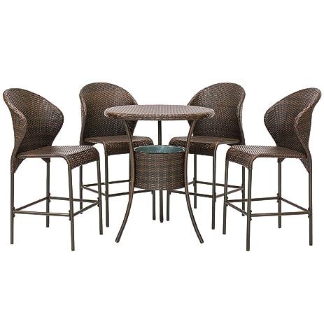 Outdoor Patio Furniture 5 Piece Wicker Bistro Bar Table Set W/ Ice Bucket