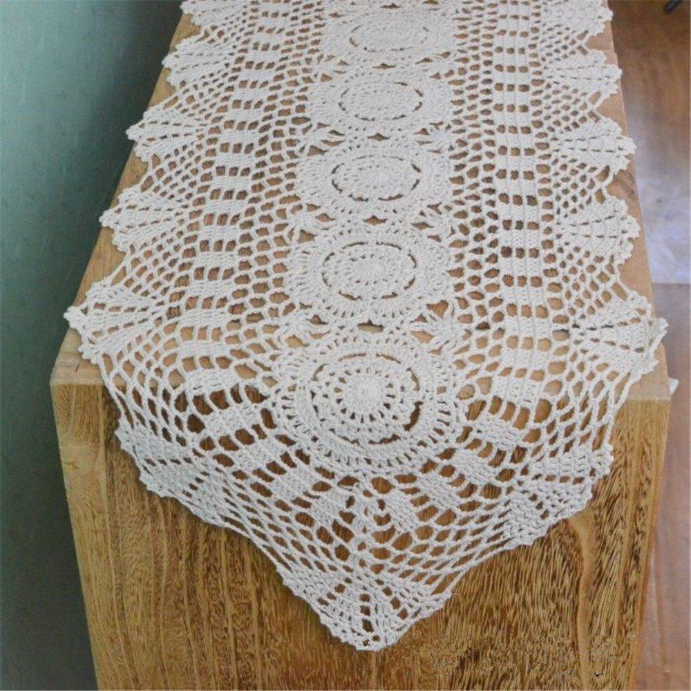 Amazon Com Vanyear Oval Cotton Crochet Lace Table Runner Handmade