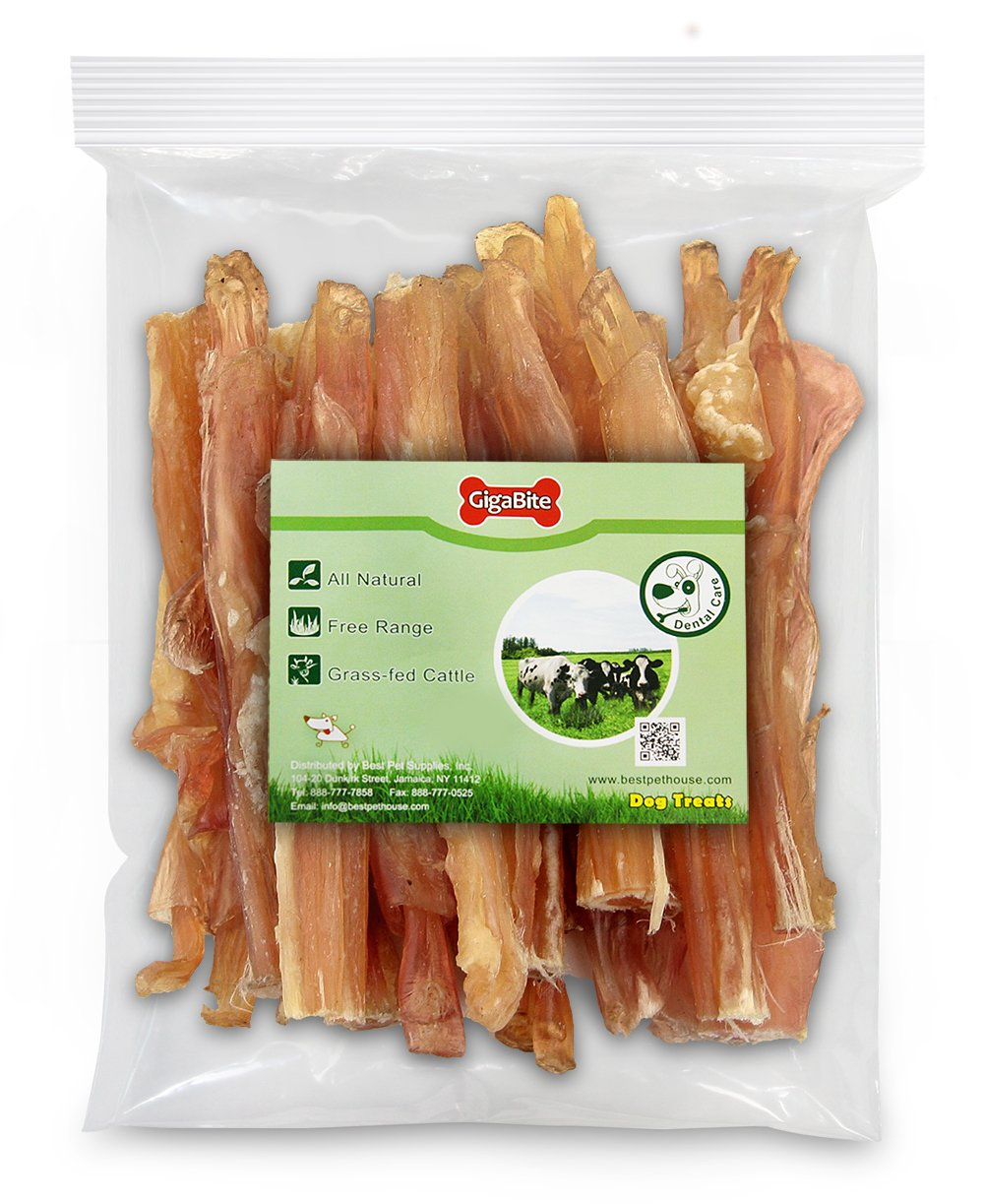 GigaBite 6 Inch Beef Tendon Sticks (15 Pack) – USDA & FDA Certified All Natural, Free Range Beef Tendon Dog Treat – By Best Pet Supplies by Best Pet Supplies, Inc. (Image #4)