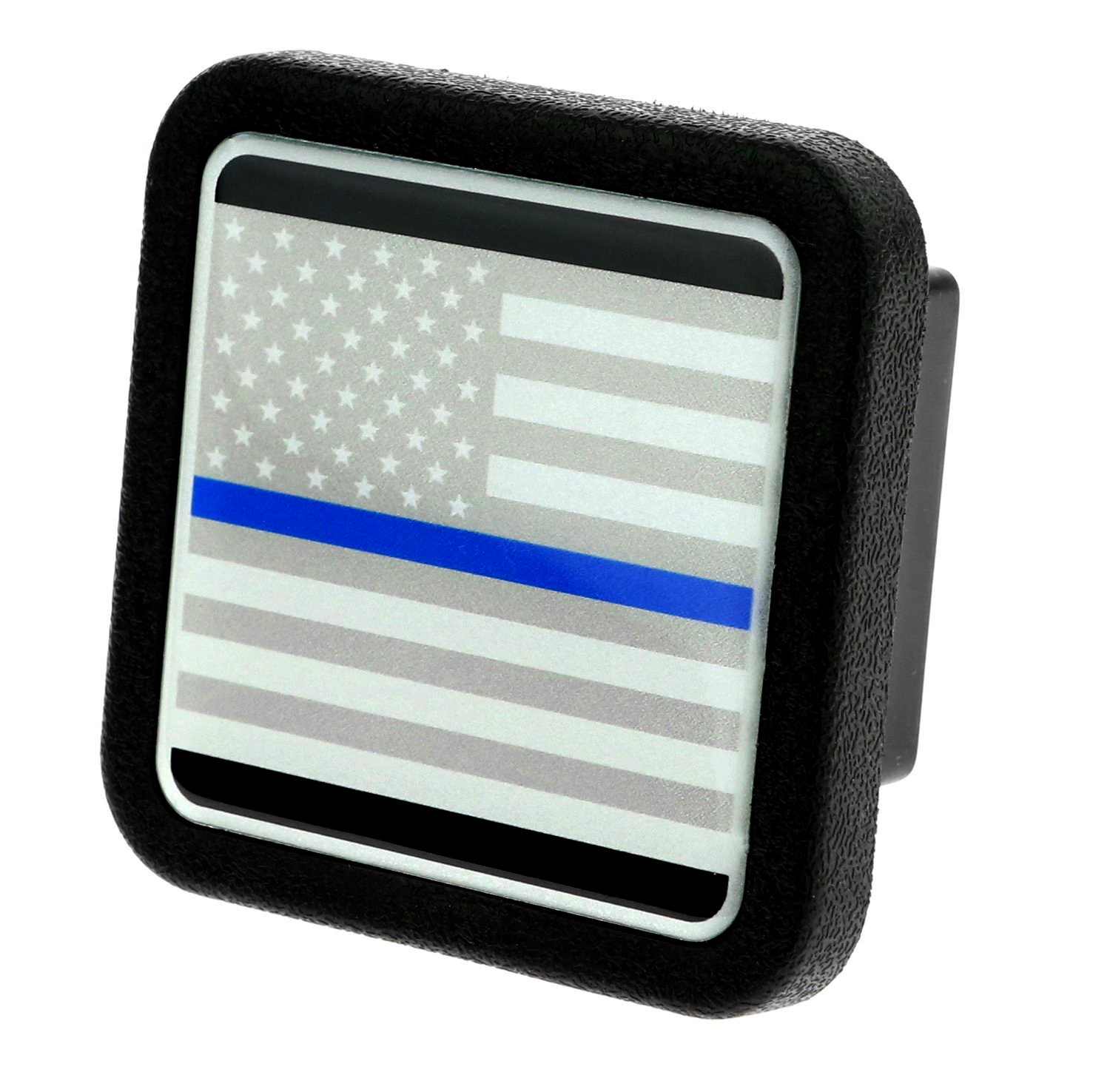Trailer Hitch Cover Plug Insert (Fits 2'' Receivers, USA flag with Thin blue line) by eVerHITCH