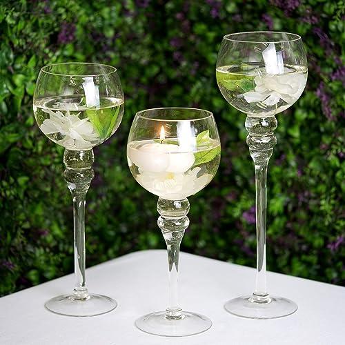 Efavormart Set of 3 Clear Long Stem Globe Glass Vase Tabletop Candle Holders Wedding Party Centerpiece Decoration