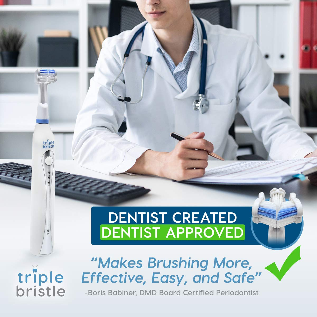 Triple Bristle Best Sonic Electric Toothbrush - Whiter Teeth & Brighter Smile - Rechargeable 31,000 VPM Tooth Brush is Unique & Patented 3 Brush Head Design - Perfect Angle Bristles Clean Each Tooth by Triple Bristle (Image #9)