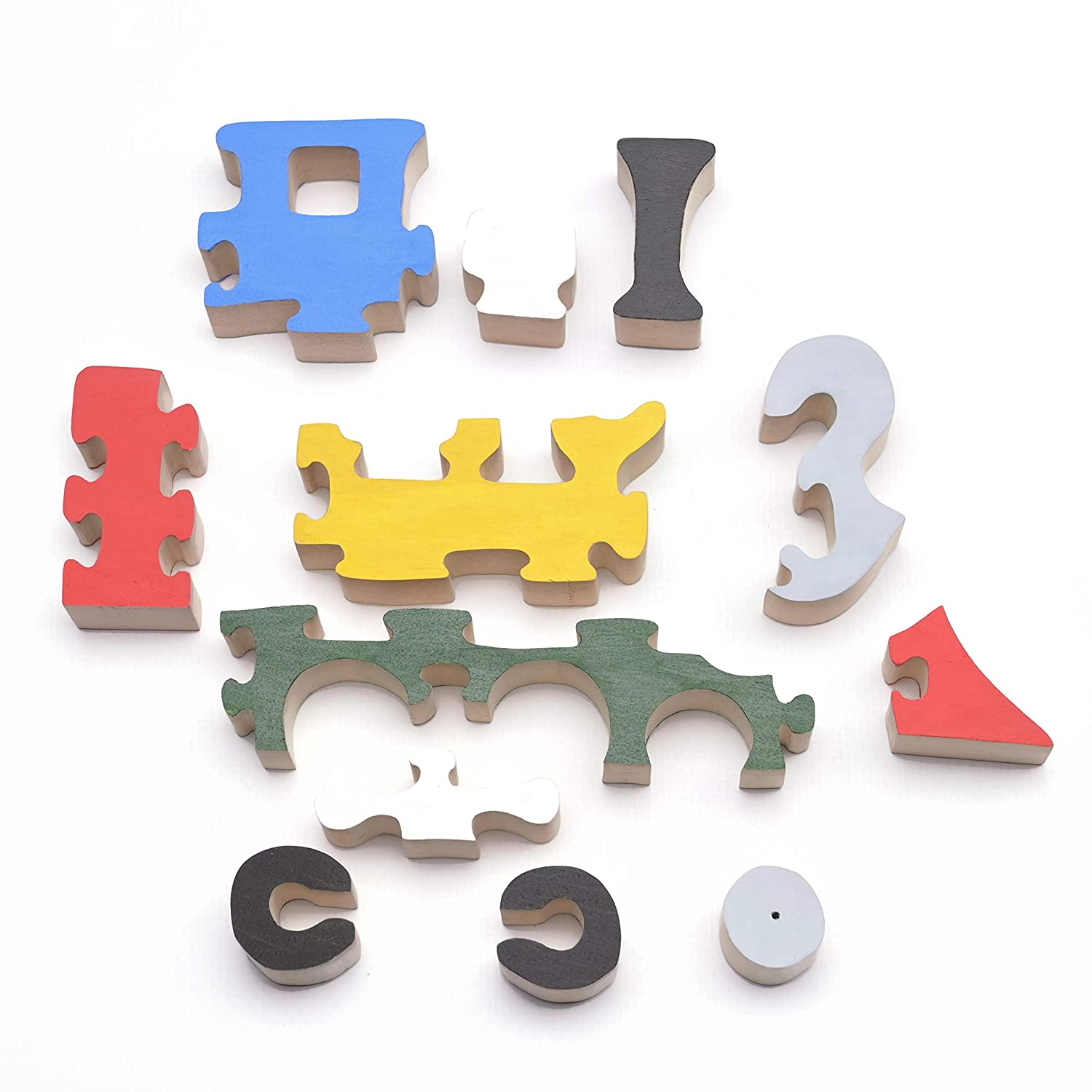 Wooden Jigsaw Puzzles Toy trains Wooden Nursery Kids Room Decor Educational Toy Baby Shower Gift