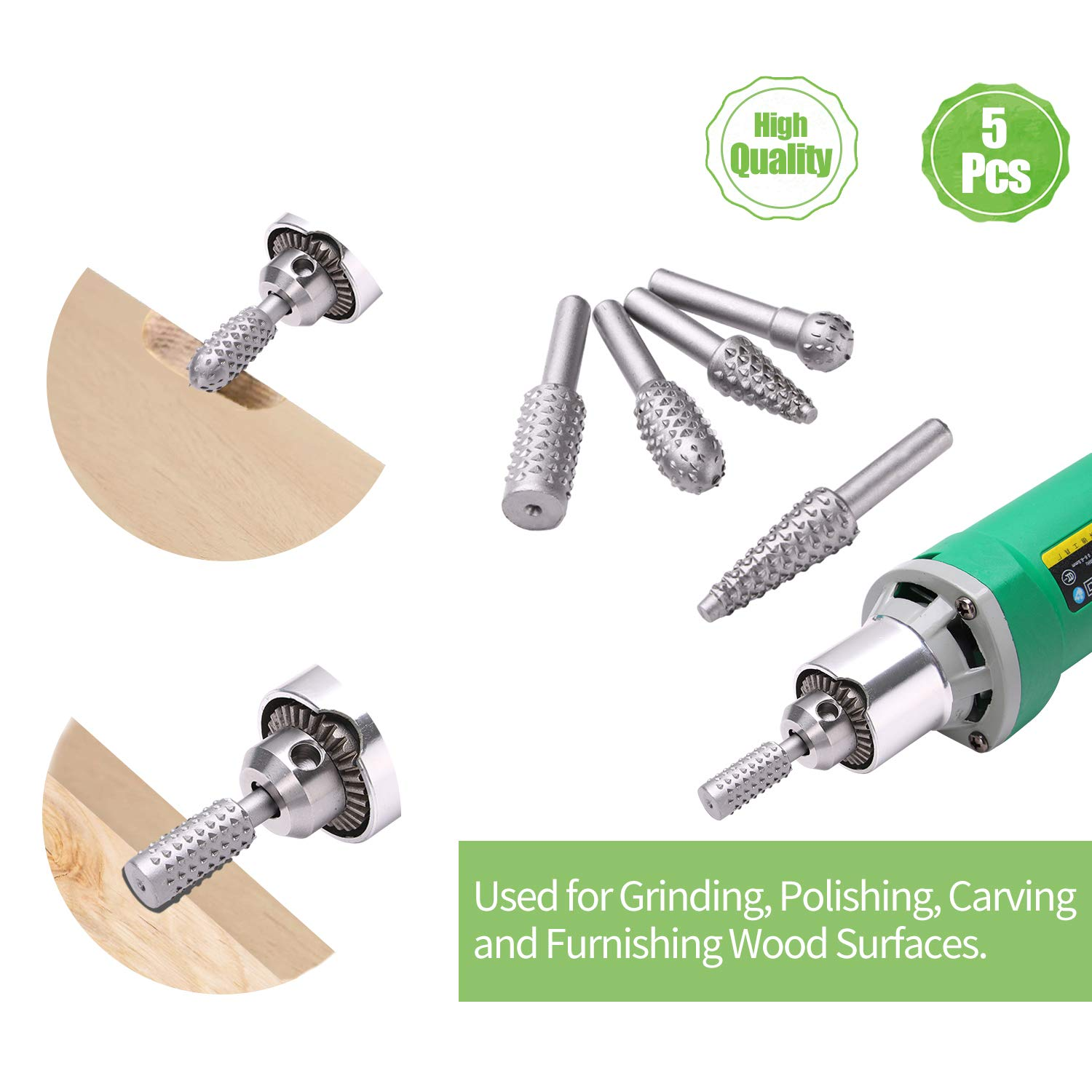 Shaping 2 Pack, 4 1//2 Inch,7//8 Arbor /& Carbide Burr Set Wood Carving Disc Sculpting Grinder Attachments for Wood Carving 5 Pcs, 1//4 Shank Diameter Cutting Drilling and Polishing