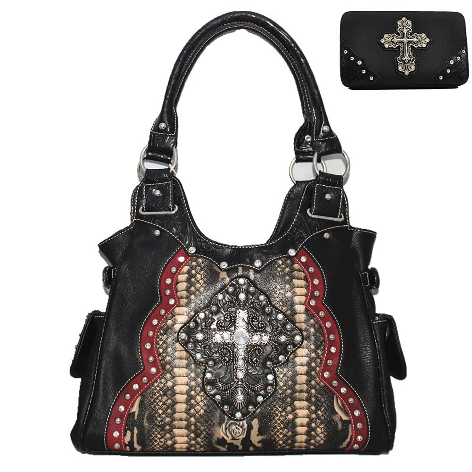Rhinestone Studded Cross Flower Concealed Carry Shoulder Handbag Wallet, Set in 3 Colors