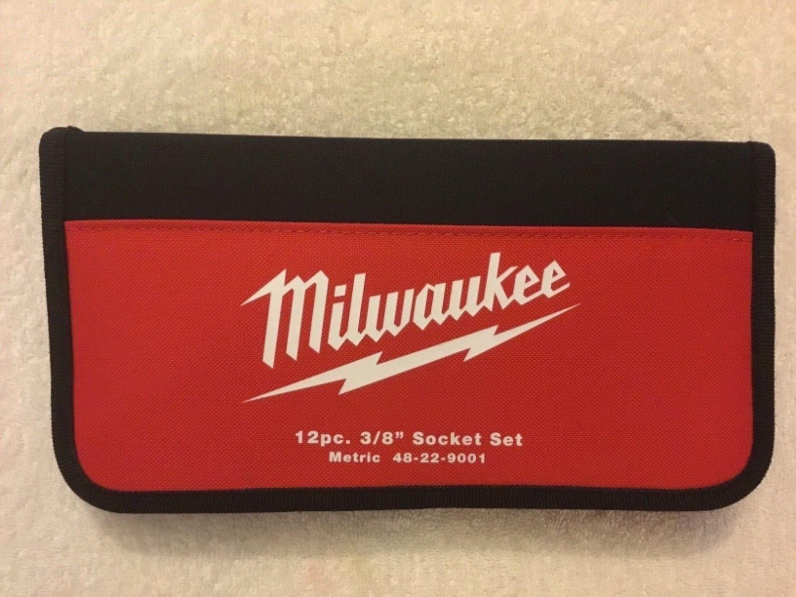 """Milwaukee 12 Piece 3/8"""" Drive Socket Set 48-22-9001 Metric Tool Set With 61pc Titan Bit Set"""