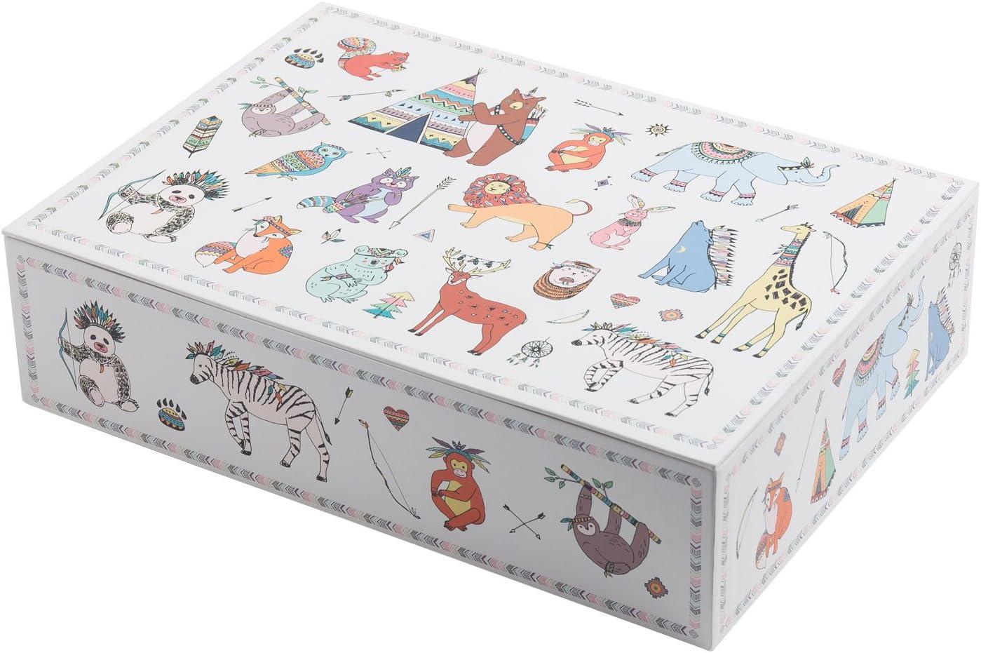 Creibo CBOX007 - Caja Cartón Grande Decorada Animales: Amazon.es: Hogar
