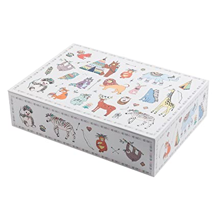 Creibo CBOX007 - Caja Cartón Grande decorada animales
