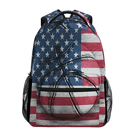 a87e1409abd8 Image Unavailable. Image not available for. Color  WXLIFE American Flag  Basketball Backpack Travel School Shoulder Bag for Kids Boys Girls Women Men