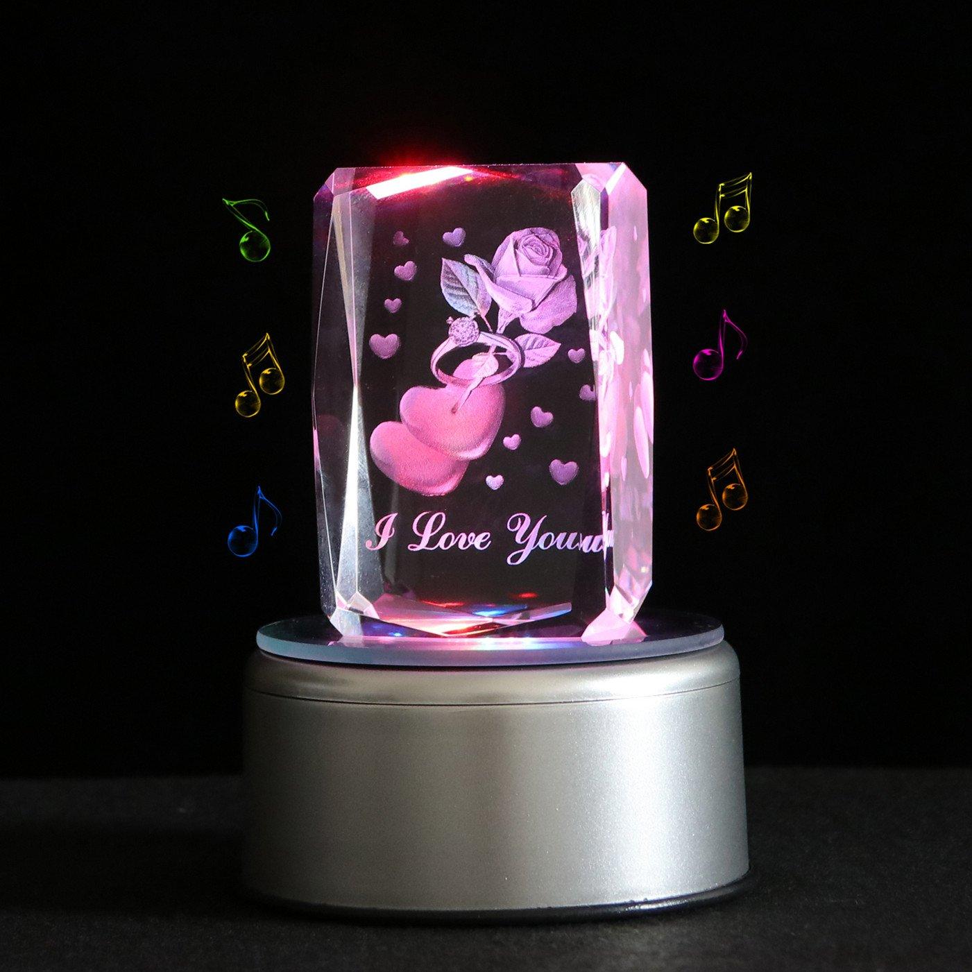 【着後レビューで 送料無料】 qianruna 3dレーザークリスタル彫刻クリスタルローズフラワー音楽ボックス、クリスマスギフト Base|Rose、贈り物母の日、ナイトライトfor Kids Ring、結婚記念ギフト Music B075FW8TWN Base B075FW8TWN Rose With Ring Bluetooth Base Bluetooth Base|Rose With Ring, 大和まほろば いざさ茶屋:28971b9a --- arcego.dominiotemporario.com