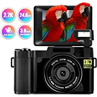 Digital Camera Vlogging Camera 24MP Full HD 2.7K 25FPS YouTube Compact Camera with Retractable Flashlight and 3.0 Inch Flip Screen video camera