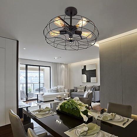 Lingkai Cerca de la luz de techo en ventilador industrial lámpara de techo con cinco luces para la decoración E26 / E27