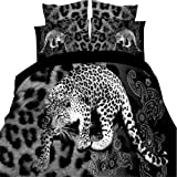 Han Shi® 3D Black Artificial Leopard Mission Boys' Sheets & Pillowcases Fitted 4PCS King Size
