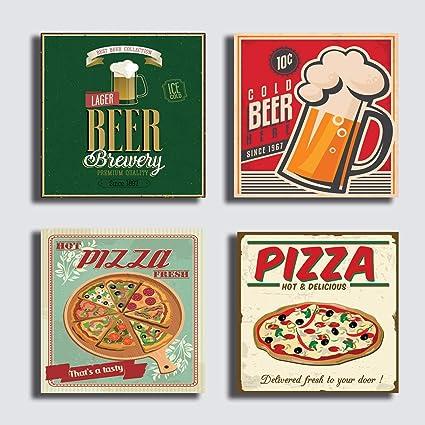 Cuadros modernos 4 piezas 40 x 40 cm impresión sobre lienzo - Cuadro moderno decoración vintage tienda bar pizzería restaurante café pizza Pub cerveza