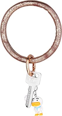 Oversized Round Shaped Tassel Wristlet Keychain Womens Leather Bracelet Key Ring